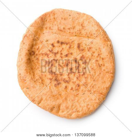 Tasty pita bread isolated on white background.