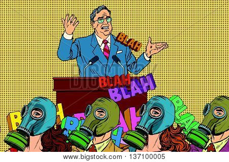 political candidate, electoral hygiene pop art retro vector. Empty promises