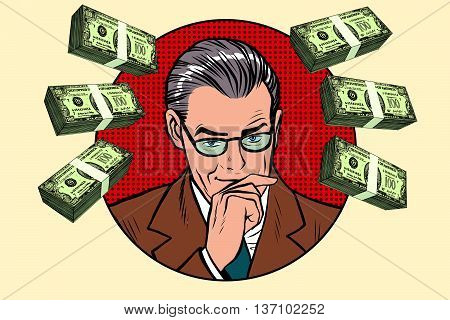 Business man and wads of money pop art retro vector. Financier accountant