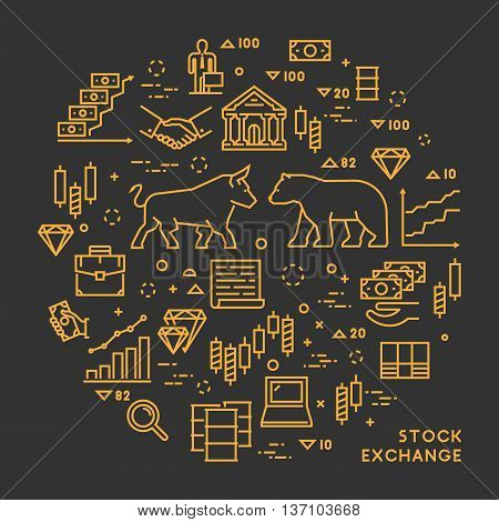 Vector line concept stock exchange. Linear symbol commodity exchange. Modern banner stock market. Open path.