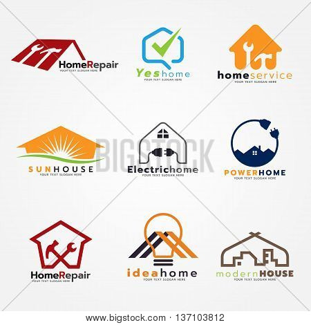 Home service and modern logo vector set art design