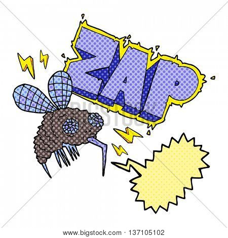 freehand drawn comic book speech bubble cartoon fly zapped