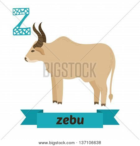 Zebu. Z Letter. Cute Children Animal Alphabet In Vector. Funny Cartoon Animals