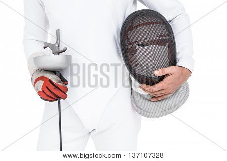 Swordsman holding fencing mask and sword on white background