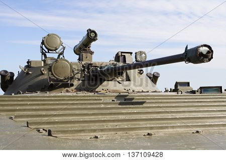 Military turret gun vehicle - close view