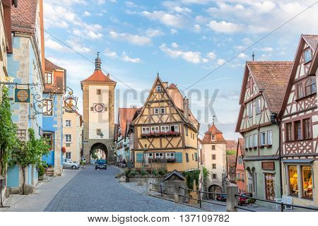Rothenburg ob der Tauber historic town downtown, Franconia, Bavaria, Germany