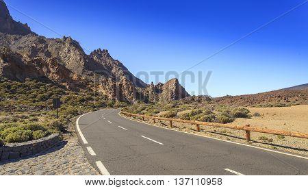 The road in mountains which conducts to a volcano of Teide on the Canary Islands