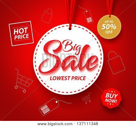 Big Sale Banner with Hanging Circle White Tag Price and Icons for Promotions in Red Background. Vector Illustration.