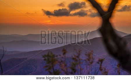 Autumn hills in the evening in the Far East Russia