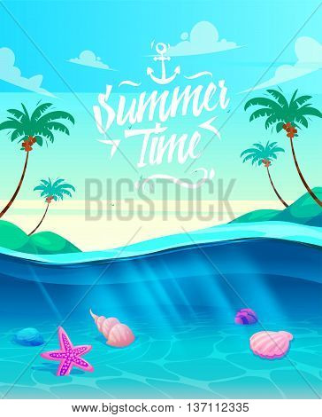 Holidays by the sea. Lettering on the backgrounds of the beautiful palm trees and the sea. Under water life vector stock illustration . Natural landscape graphics.