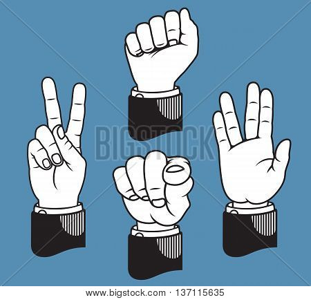 Set of four hand gestures based on classic printers pointers including peace sign, fist, pointing finger, and vulcan salute.
