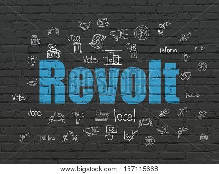 Political concept: Painted blue text Revolt on Black Brick wall background with  Hand Drawn Politics Icons