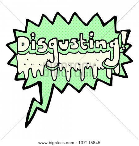 freehand drawn comic book speech bubble cartoon disgusting symbol