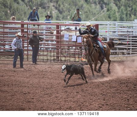MESCALERO, NM - JULY 2.  Professional Rodeo at the Mescalero Apache Ceremonial & Rodeo grounds, July 2, 2016 Mescalero, New Mexico.
