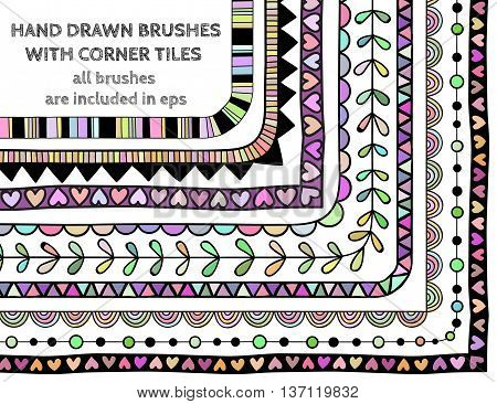 Vector set of nine hand drawn brushes with corner tiles. Pattern of different colors for frames, borders and design elements. Vector isolated illustration. Brushes are included in eps.