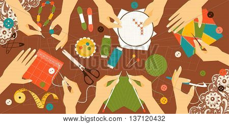 Illustration kinds of handwork. Workplace. Top view
