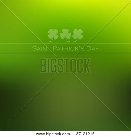 Trefoil and quatrefoil on green blurred background for St. Patricks Day. Vector illustration.
