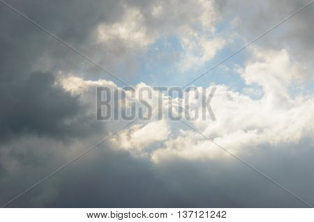 Bright sun reflected on clouds in sky with copy space for moody transfiguration concept background