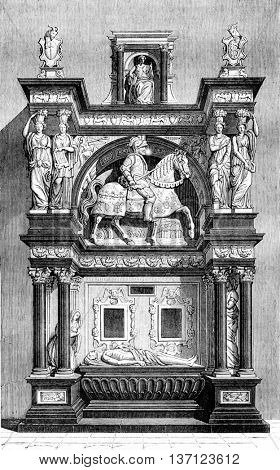 Tomb of Louis de Breze, Cathedrale Rouch, vintage engraved illustration. Magasin Pittoresque 1843.
