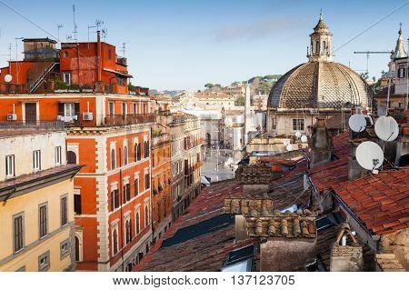 Old Rome, Italy. Via Del Corso, Roof View