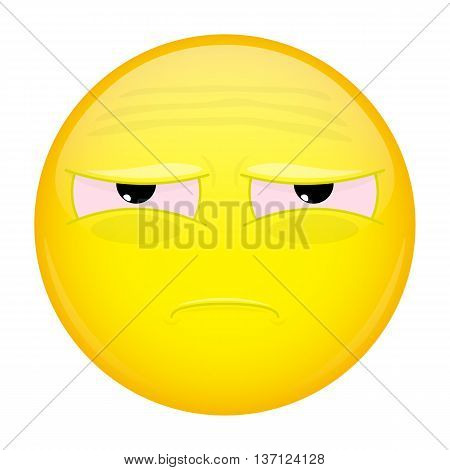 Tired emoji. Bad emotion. Unhappy emoticon. Vector illustration icon.