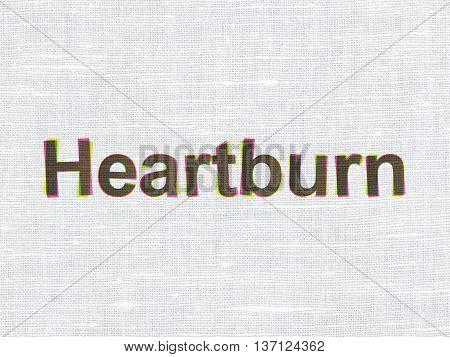 Healthcare concept: CMYK Heartburn on linen fabric texture background