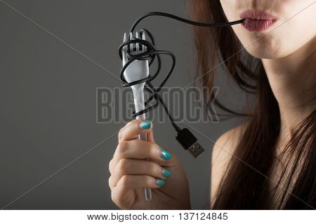 Female Lips With Usb Cable