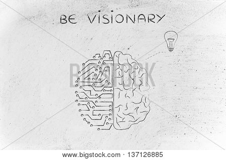 Human And Circuit Brain Having An Idea (lightbulb), Be Visionary