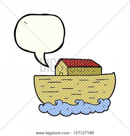 freehand drawn comic book speech bubble cartoon noah's ark