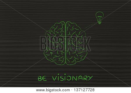 Human Brain Having An Idea (lightbulb), Be Visionary
