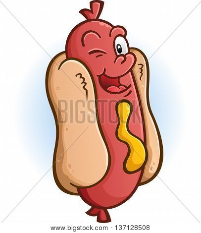 Hot Dog Winking an Eye Cartoon Character