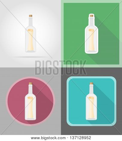 message in the bottle flat icons vector illustration isolated on background