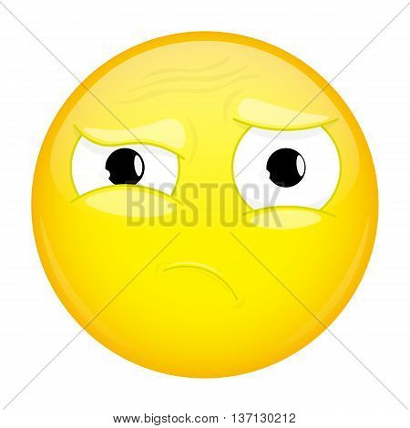 What emoji. Do not understand emotion. Puzzled emoticon. Vector illustration smile icon.