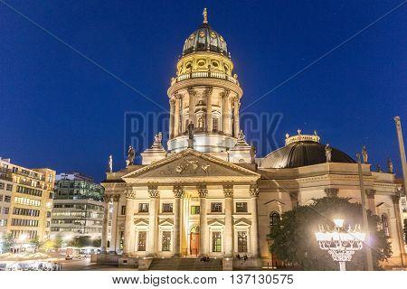The Gendarmenmarkt At Night In Berlin, Germany.
