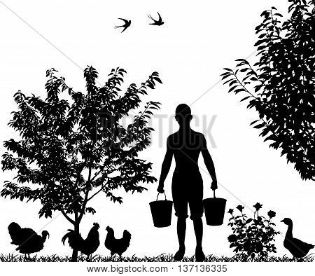 Silhouette of young man with buckets in hands