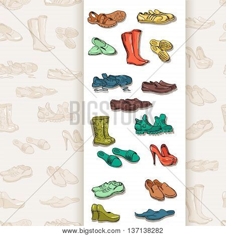 Hand drawing various types of different footwear. Shoes icons sketch male and female shoes sandals boots moccasins rubber boots and else. Vector illustration of shoes on seamless background.