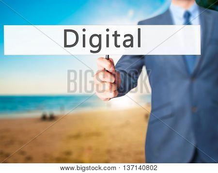 Digital - Businessman Hand Holding Sign