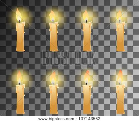 Cartoon candle with fire animation on transparent background with dancing halo. Vector illustration.