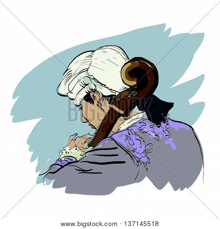 Musician cellist in a retro wig hands drawn vector illustration. Classical music. Musician of the Renaissance