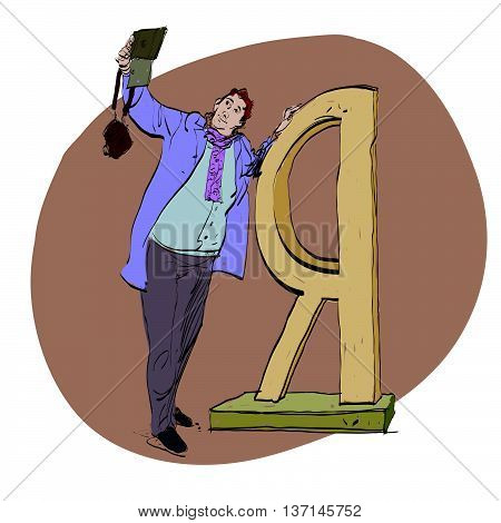 Selfie male photographed near the Russian letter I hands drawn vector illustration. Taking pictures of themselves