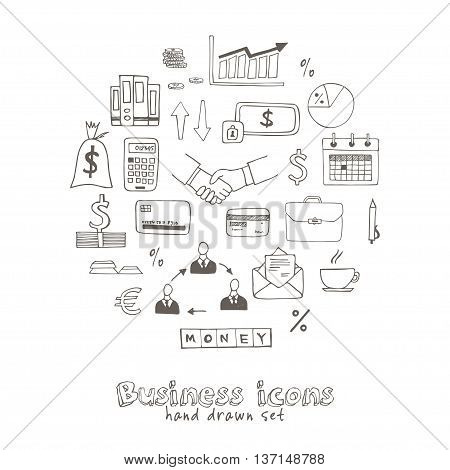 Set of doodle sketch business icons isolated vector illustration
