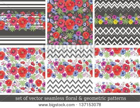 Set of Beautiful Seamless Patterns with Flower, Zigzag and Stripes . Summer Ornaments with Poppies and Anemones. Vector Backgrounds with Garden Flowers.