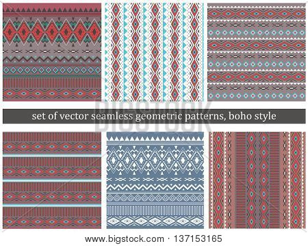 Set of Tribal Boho Seamless Patterns . Ethnic Geometric Ornaments. Boho Vector Patterns. Fabric, Wallpaper and Wrapping Textures.