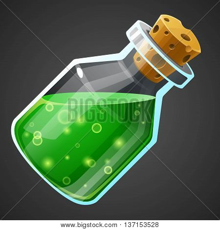 Vector cartoon potion bottle. Vial with green liquid.