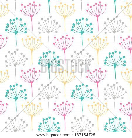 Inflorescence dill. Vector seamless pattern with flower inflorescence. Cute floral background. Light colors - pink yellow green and grey on white background.