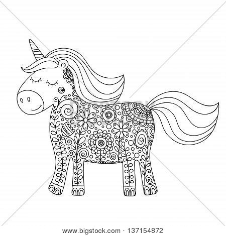 Doodle unicorn. Cute hand drawing unicorn with floral zentangle ornament. For kids and adults anti stress coloring pages. Isolated outline horse silhouette. Vector tattoo.