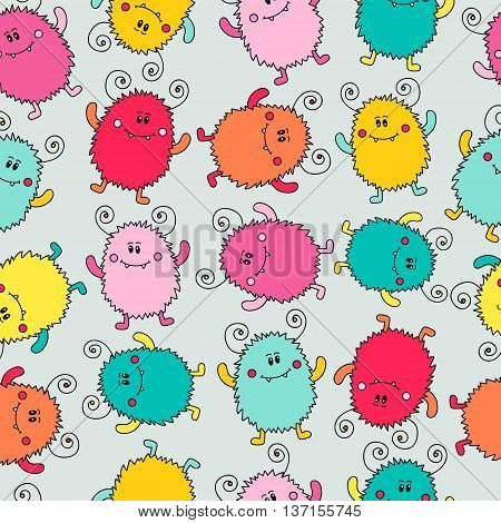 Doodle monsters. Seamless pattern with cute colorful monsters. Vector hand drawn doodle monsters. Fun background for kids.