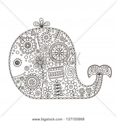Doodle whale. Hand drawn vector whale with doodle floral ornament and bubbles. Isolated. Cute animal silhouette with flowers and dots. Color page for children and adult.