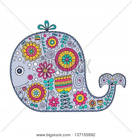 Cute vector whale. Hand drawn cartoon whale with floral doodle ornament. Nice design for for babies and children. Yellow pink green grey and white colors. Isolated. Doodle animal with flowers and dots.