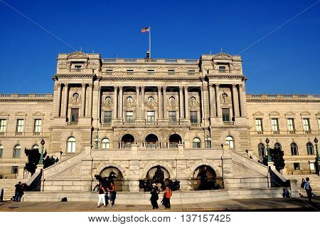 Washington DC - April 12 2014: The Beaux Arts facade of the Thomas Jefferson Building of the Library of Congress